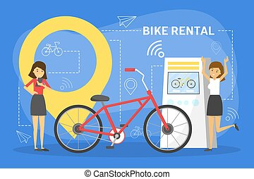 Bike rental web banner concept. Rent bicycle