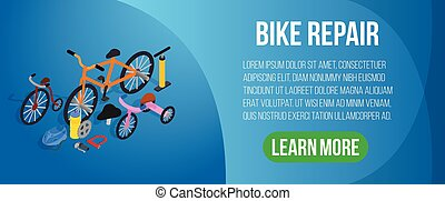 Bike repair concept banner, isometric style