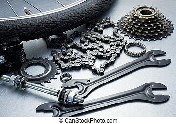 Bike repairing. Spare parts and tools.