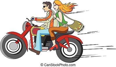 Bike Ride, illustration - Bike Ride, Couple on a Motorcycle...