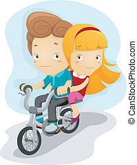 Bike Ride - Illustration of a Boy Giving a Girl a Ride on...