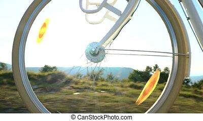 bike ride low angle wheel close up
