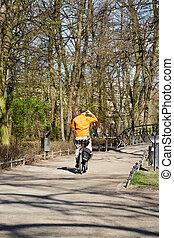 Bike rider in spring park