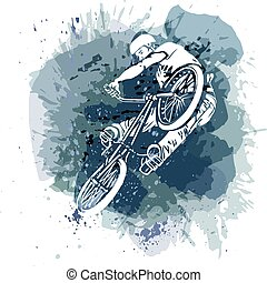 Bike rider jumping on a artistic abstract background.