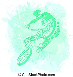 Bike rider jumping on a artistic abstract background. Handcrafted spot.