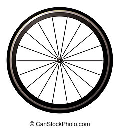 Aerodynamic front road or time trial wheel with tyre