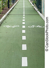 Bike road with two lanes diveded by dotted line