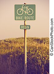 Bike Route Begin Traffic Sign in California, USA. Signage...