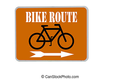 bike route sign on orange background - bike route sign with...