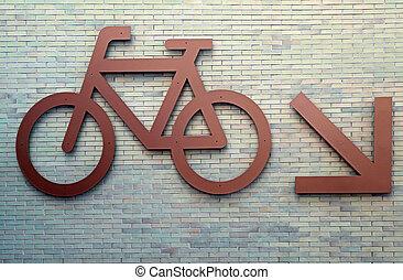 Bike route sign - Bike route urban sign on brick wall
