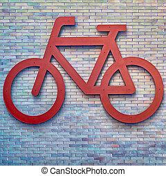 Bike route sign - Bike route urban sign on brick wall,...