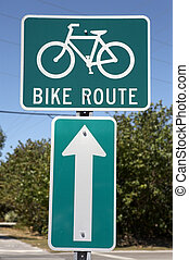 Bike route sign, tourism on the island encourages visitors to hire bikes and use special lanes sanibel Island, florida America, usa taken in march 2006