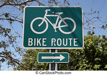 Bike route sign, tourism on the island encourages visitors ...