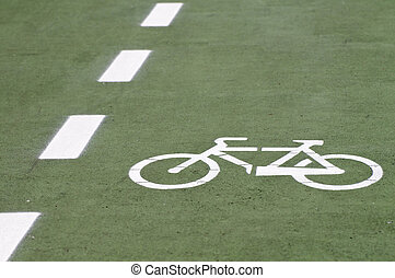 Bike route with painted bicycle symbol