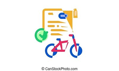 Bike Sharing Business Icon Animation Bike Share Deal And Agreement, Web Site And Phone Application, Helmet And Bicycle Parking