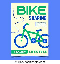 Bike Sharing Service Advertising Banner Vector