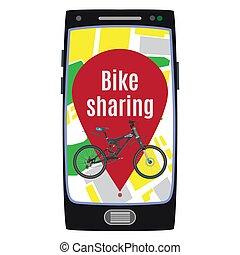 Bike sharing service concept vector flat illustration