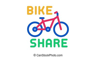 bike sharing services Icon Animation. color bike sharing services animated icon on white background