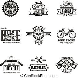 Bike shop, bicycle, biking vintage vector labels, logo, badges and emblems