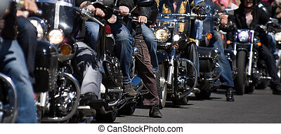 Bikers at the bike show - - small depth of field
