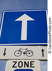 Bike Sign with Blue Arrow