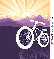 bike silhouette on mountains nature background with sun