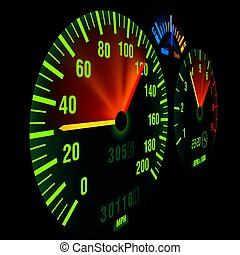 Bike Speedometer - detailed and photorealistic illustration