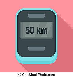 Bike speedometer icon, flat style