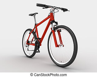 Bike - Red sport bicycle. Isolated on light background