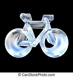 bike symbol in glass (3d)