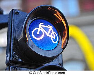 Bike symbol in the city traffic light