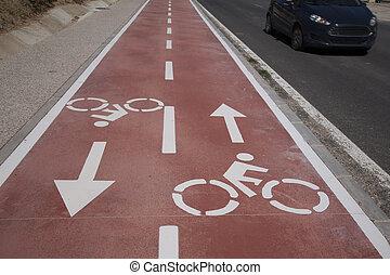 Bike Symbol on Bicycle Lane