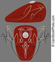 Bike Tank Pinstripe Graphics : Vinyl Ready Vector Art