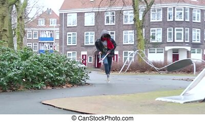 Bike thief - Man stealing a bicycle: He runs with a bolt...