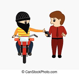 Bike Thief Trying to Snatch a Phone Vector Illustration