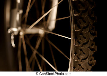 Detail of a bicicle tire and wheel
