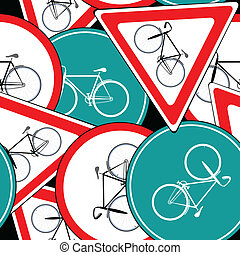 bike traffic signs pattern, abstract seamless texture;...