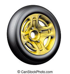 Bike tyre gold - Illustration 3D, bike tyre with rim gold on...