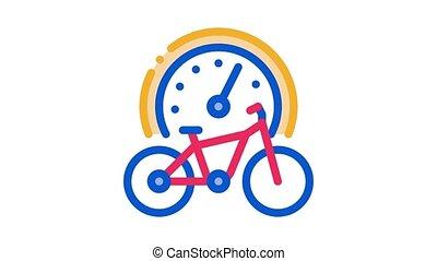 bike use time Icon Animation. color bike use time animated icon on white background