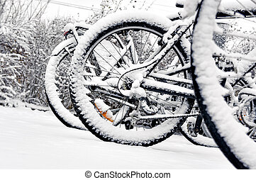 Bike wheel in winter - Close up of wheel of bike in bicycle...