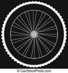 Bike wheel - isolated on black background