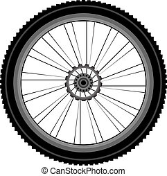 bike wheel isolated on white - bike wheel with tire and...