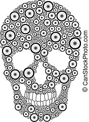 Bike wheel skull - Vector skull created from bike wheels