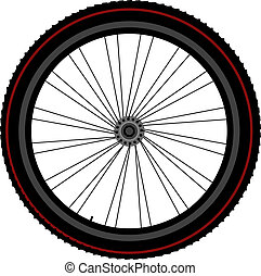 bike wheel tyre disk and gear - bike wheel detailed isolated...