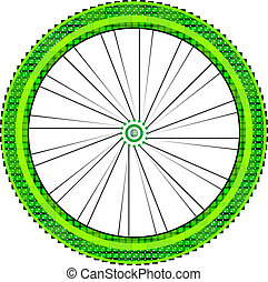 bike wheel with tire and spokes isolated on white background
