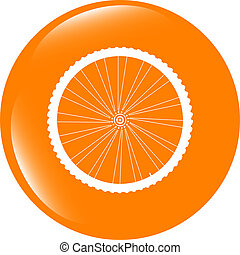 bike wheels glossy web icon button . Trendy flat style sign isolated on white background