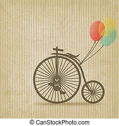 bike with balloons retro striped background - vector ...