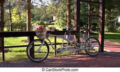 Bike with basket of fruits. Tandem bicycle near the fence....