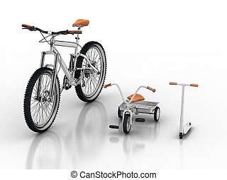 bike with children's bikes and sco