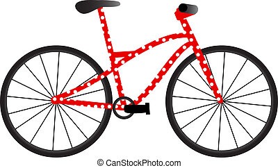Bike with dots - Red bicycle with white dots isolated on the...